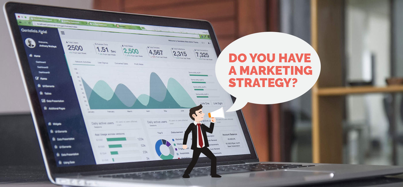 image of a laptop with facebook analytics on screen and an illustration of man with a megaphone asking for your marketing strategy