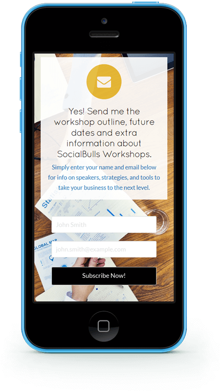 photo of the socialbulls workshop signup on mobile phone