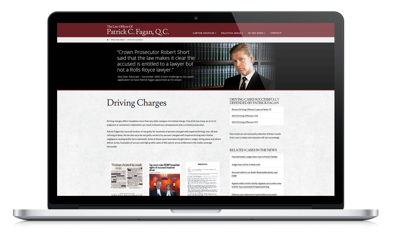 Calgary Web Design for Lawyer Patrick Fagan