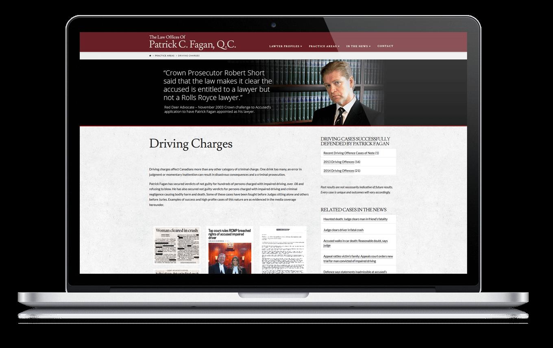Calgary Web Design for Lawyer Patrick Fagan